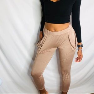 3/30% Chocolate wide boho joggers pants Large